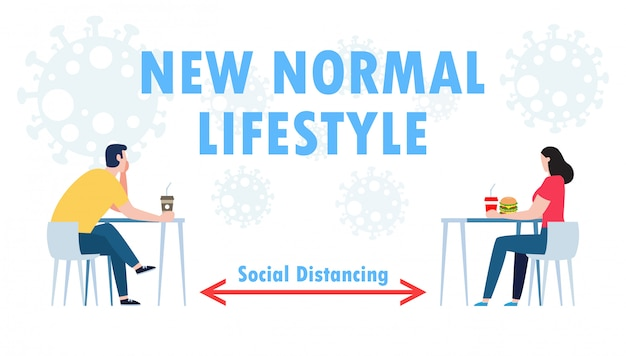 Novo conceito de estilo de vida normal, conceito de distanciamento social físico no restaurante Vetor Premium