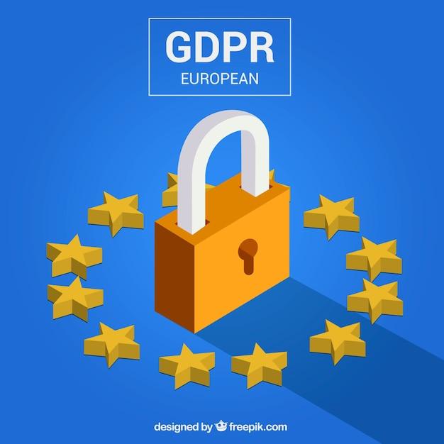 Novo conceito europeu de gdpr Vetor grátis
