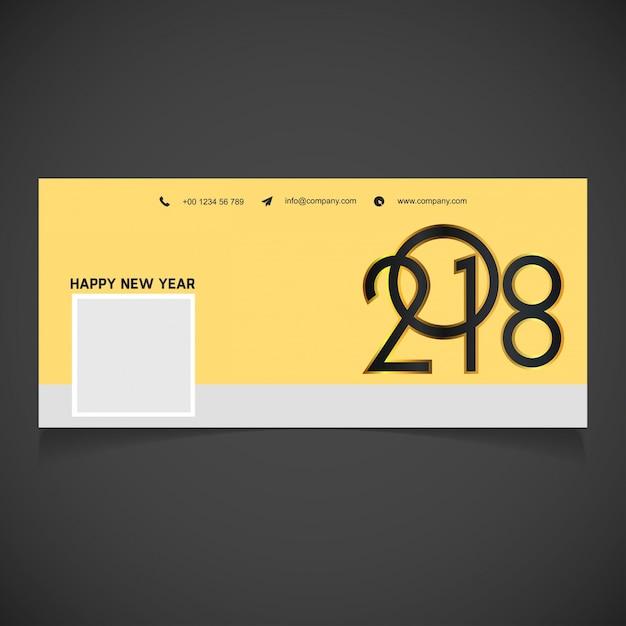 Novo facebook cover of 2018 creative outline golden gradient typography preenchido com black gradient of 2018 Vetor grátis