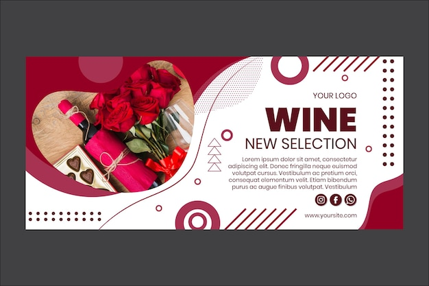Novo modelo de banner de seleção de vinhos Vetor grátis