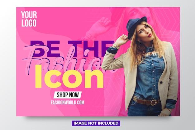 Novo modelo de design de banner de venda de moda Vetor Premium