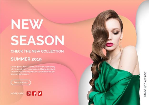 Novo modelo de promoção de banner de coleção Vetor Premium