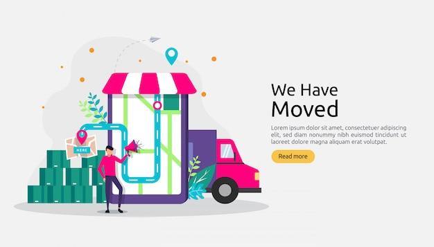 Novo negócio de anúncio de localização ou conceito de endereço de escritório de mudança. Vetor Premium