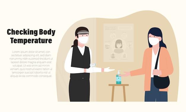Novo normal de infográfico de restaurante com verificação da temperatura corporal em uma ilustração de restaurante Vetor Premium
