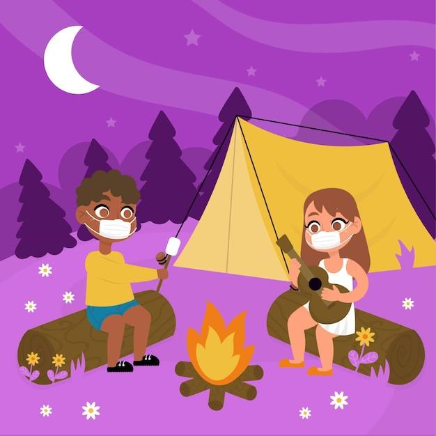 Novo normal em acampamentos de verão com pessoas Vetor grátis