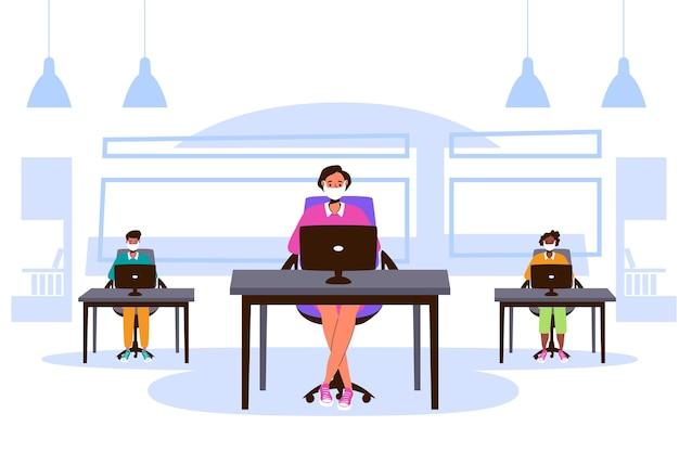 Novo normal no conceito de escritório Vetor grátis