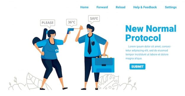 Novo protocolo de pandemia normal para trabalho e viagem. controle a temperatura corporal em escritórios, aeroportos e unidades de saúde. projeto de ilustração da página inicial, site, aplicativos móveis, cartaz, folheto, banner Vetor Premium