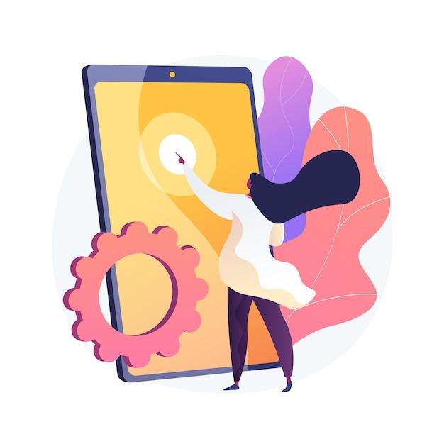 Novo teste de gadget. personagem plana feminina pressionando na tela do smartphone. mulher escolhendo o tablet. touchpad, touchscreen, dispositivo eletrônico. Vetor grátis