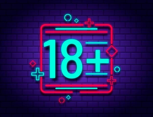 Número 18+ em estilo neon Vetor grátis