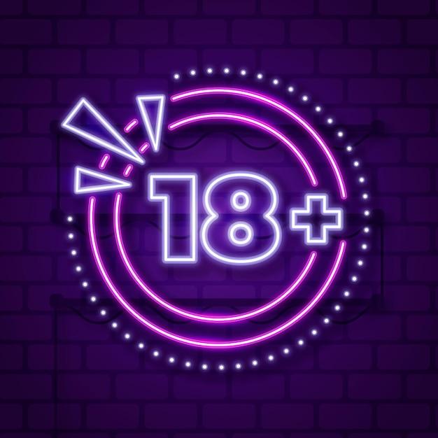 Número 18+ em estilo neon Vetor Premium