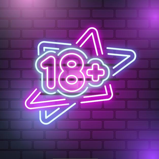 Número 18+ em luz neon Vetor grátis