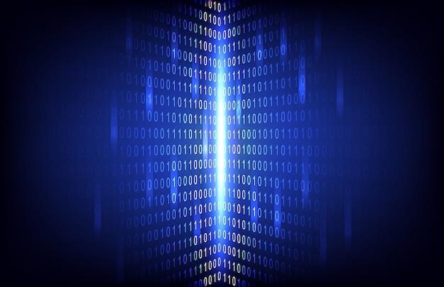 Número binário abstrato com fundo de tecnologia de circuito Vetor Premium