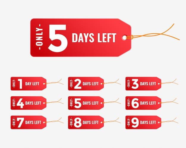 Número de dias restantes, banner com tag vermelha Vetor grátis