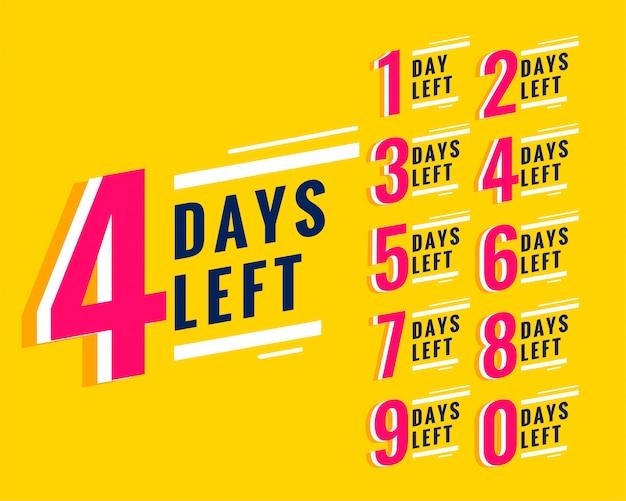 Número de dias restantes banner para promoção e venda Vetor grátis