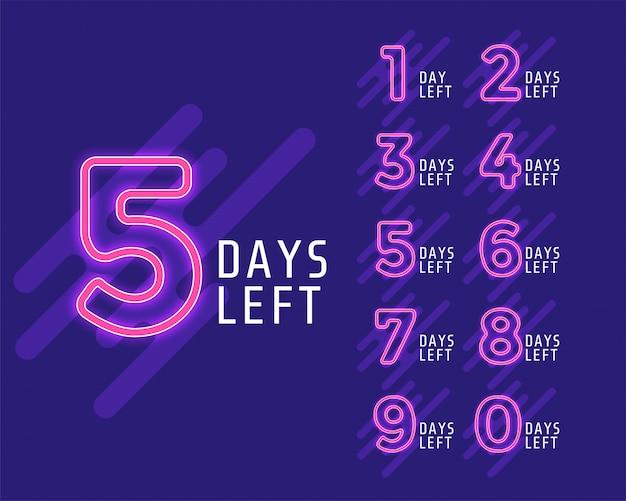Número de dias restantes do banner Vetor grátis