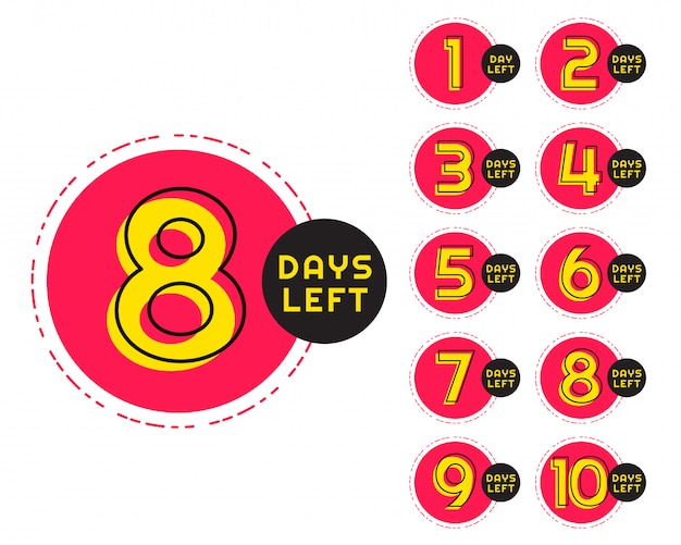 Número de dias restantes no contador em estilo circular de memphis Vetor grátis