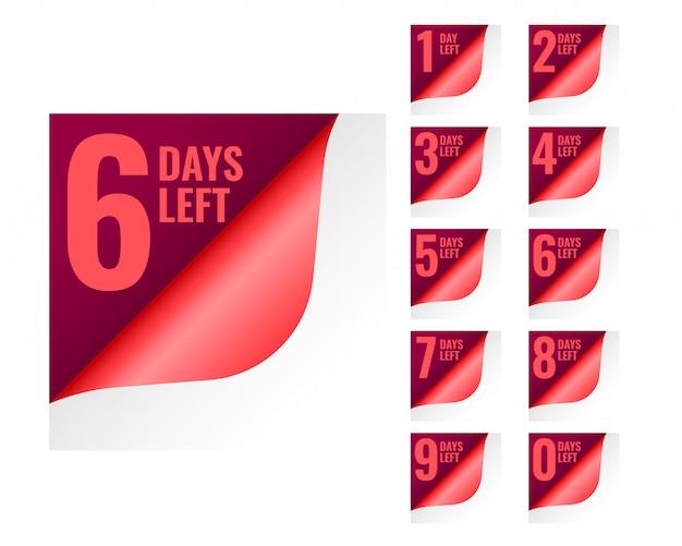 Número de dias restantes no estilo de ondulação de página Vetor grátis