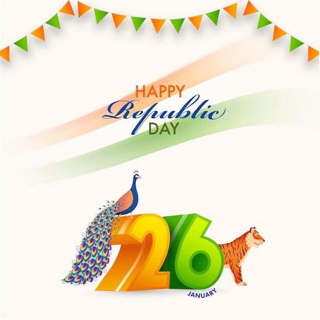 Número de janeiro com pavão, ilustração de tigre e bandeiras bunting em fundo branco para o conceito de dia da república feliz. Vetor Premium