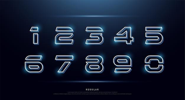 Número de tecnologia néon font alfabeto digital Vetor Premium