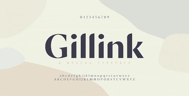 Número e fonte de letras do alfabeto elegante. rotulação de cobre clássica design de moda minimalista. fontes de tipografia regulares maiúsculas e minúsculas. Vetor Premium