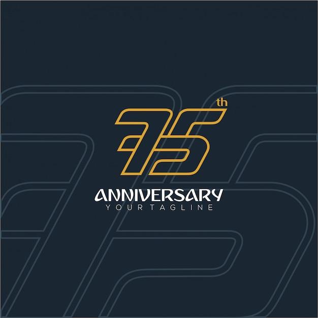 Número moderno e luxuoso para o 75º aniversário Vetor Premium