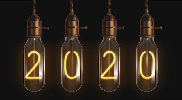 Números brilhantes 2020 dentro das lâmpadas de filamento Vetor grátis