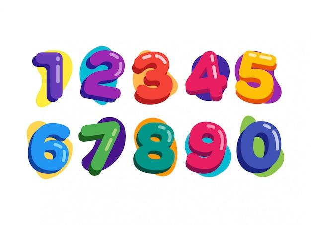 Números de crianças coloridas de baloon Vetor Premium