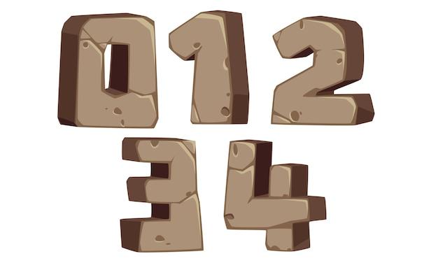 Números de fonte em estilo de pedra 0, 1, 2, 3, 4 Vetor Premium