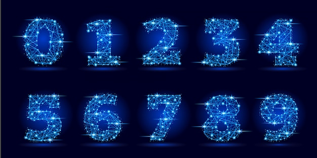Números de linhas poligonais futuristas e estrelas. Vetor Premium