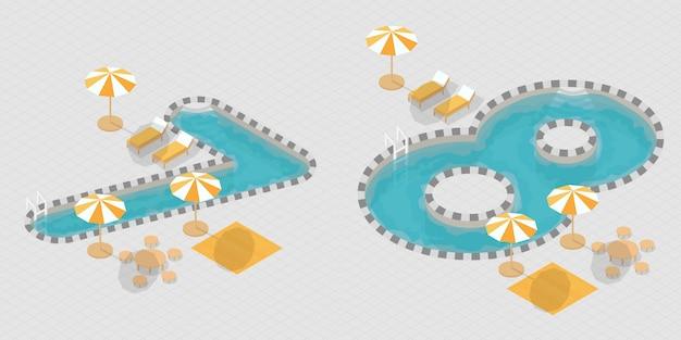 Números de piscina 3d isométrica Vetor Premium