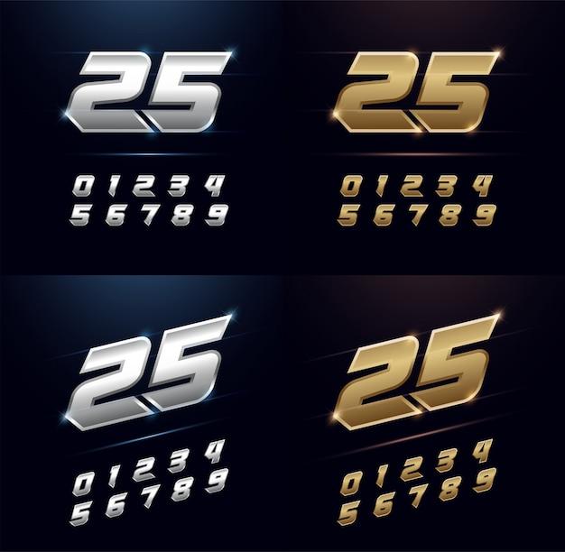 Números de prata e dourado alfabeto de metal fonte Vetor Premium