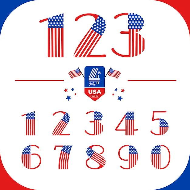 Números definidos no estilo eua com bandeira americana. dia da independência Vetor Premium