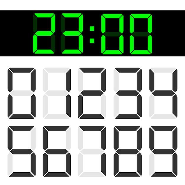 Números digitais do lcd do cristal líquido da calculadora. Vetor Premium