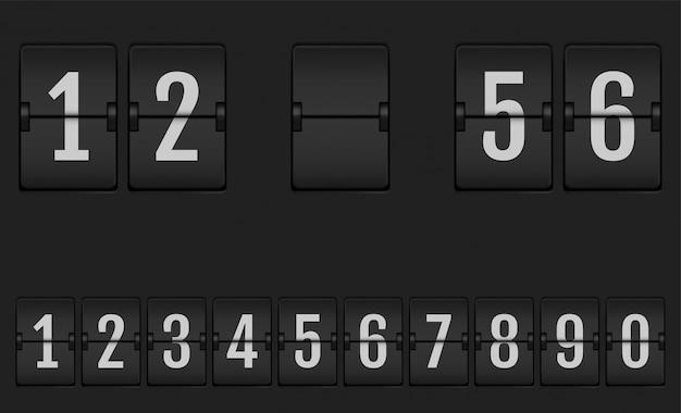 Números do alfabeto de placar mecânico. Vetor Premium