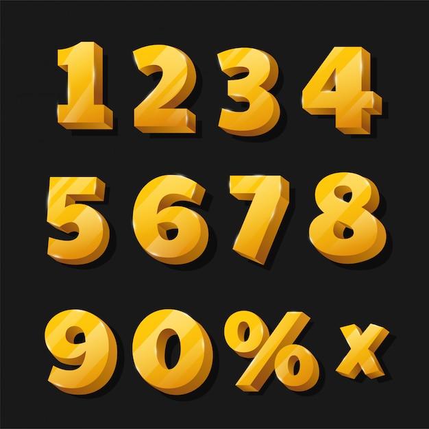 Números dourados para painéis publicitários com desconto que estão lindos. Vetor Premium