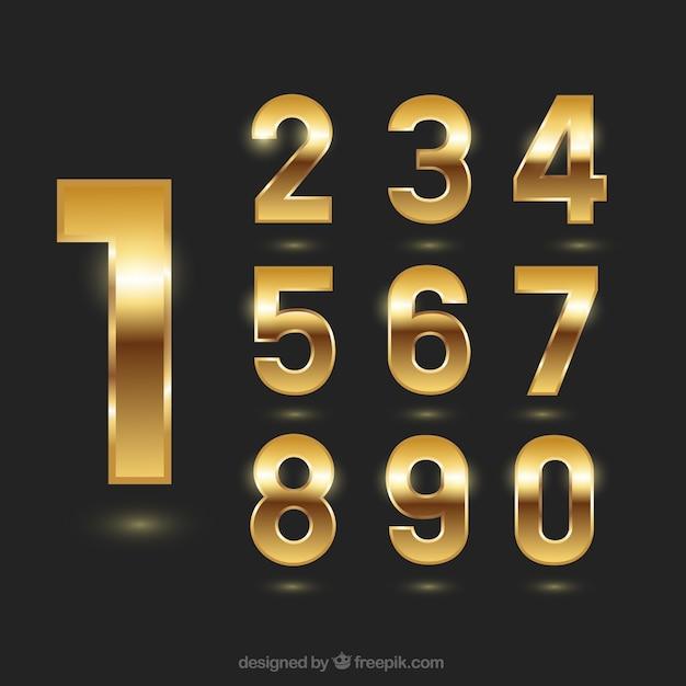 Números dourados Vetor Premium