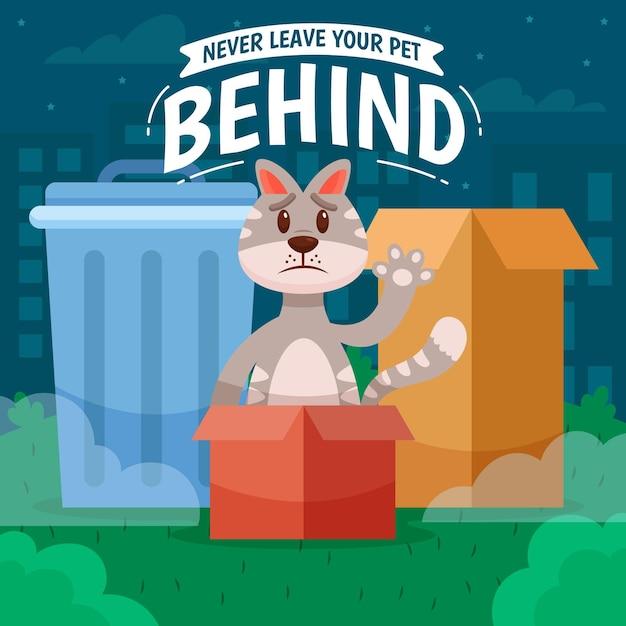 Nunca deixe seu animal de estimação para trás com gato Vetor Premium