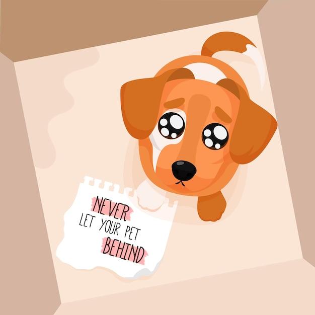 Nunca deixe seu animal de estimação para trás conceito com cachorro Vetor grátis
