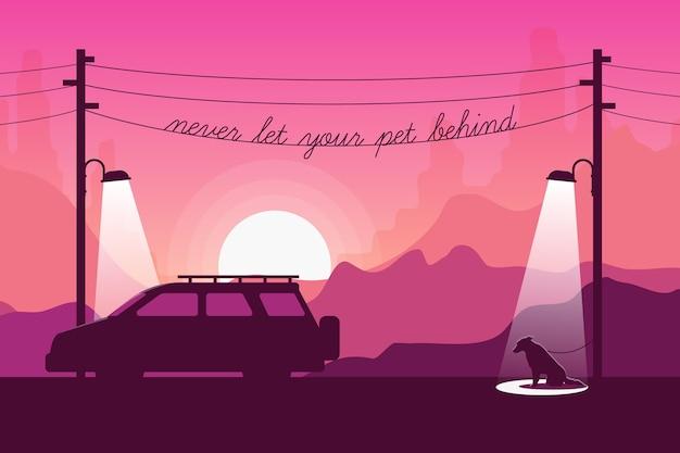 Nunca deixe seu animal de estimação para trás ilustração com cachorro e carro Vetor grátis
