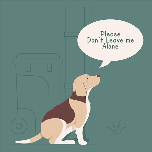 Nunca deixe seu animal de estimação para trás ilustração do conceito com cachorro Vetor grátis