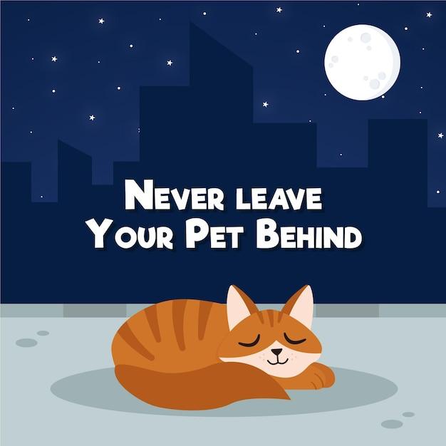 Nunca deixe seu animal de estimação para trás ilustração do conceito com gato Vetor grátis