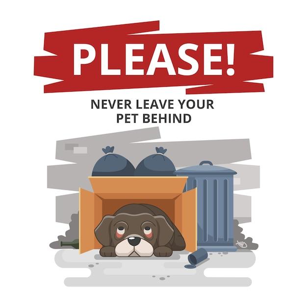 Nunca deixe seu animal de estimação para trás triste ilustração Vetor grátis