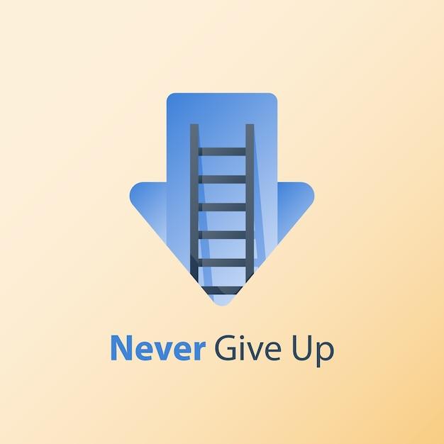 Nunca desista de conceito, mentalidade de crescimento, ideia de motivação, pensamento positivo, escada para o sucesso, alvorecer da flecha, objetivo da busca, superar obstáculo, condições difíceis, crise profunda Vetor Premium