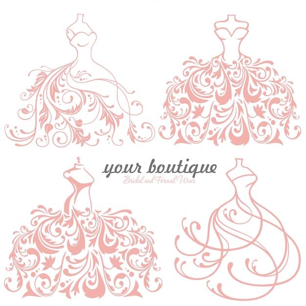 Nupcial, vestido casamento, boutique, logotipo, jogo, cobrança Vetor Premium