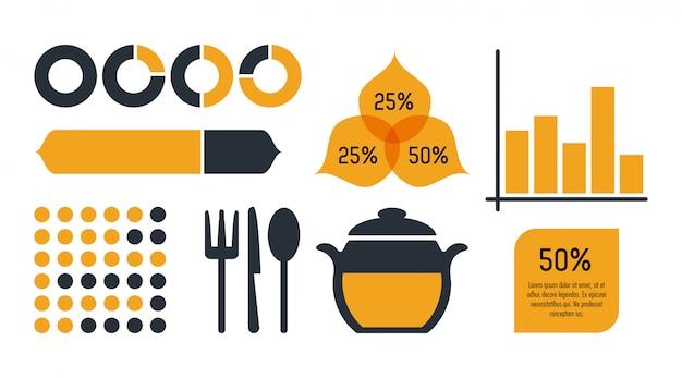 Nutrição e comida infográfico ícones estatísticas e elementos Vetor Premium