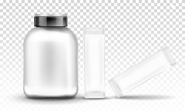 Nutrição esportiva, embalagem de contêineres suplementares Vetor grátis
