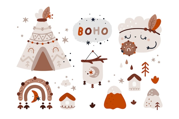 Nuvem boho, arco-íris, conjunto de cabana. elementos de design tribal para crianças Vetor Premium
