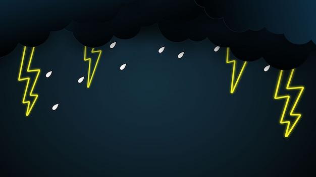 Nuvem, chuva, pesado, azul, fundo, pesado, chuva, chuvoso, estação, céu, relampago Vetor Premium