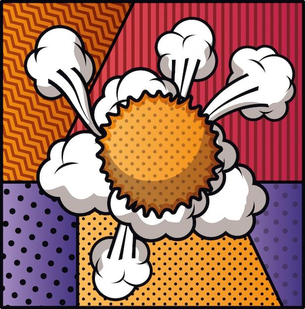 Nuvem de expressão com conjunto de padrões estilo pop art Vetor Premium