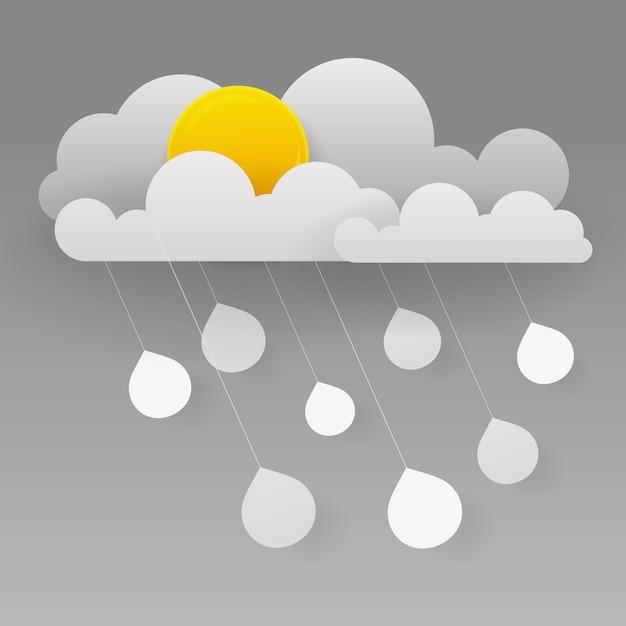 Nuvem e chuva Vetor Premium